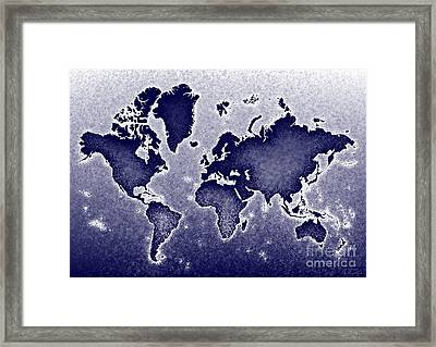 World Map Novo In Blue Framed Print by Eleven Corners