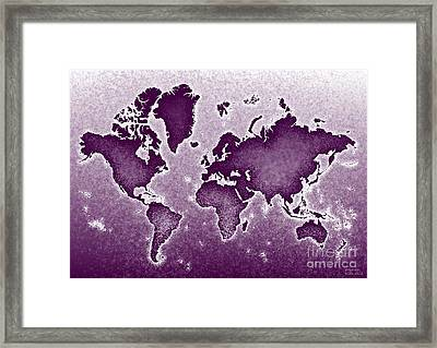 World Map Novo In Purple Framed Print by Eleven Corners