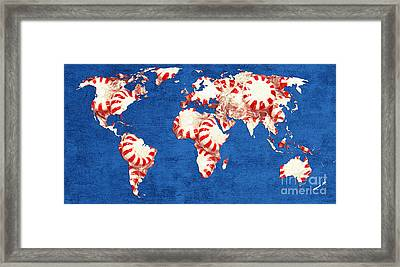 World Map Of Peppermints Framed Print by Andee Design