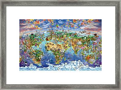 World Map Of World Wonders Framed Print
