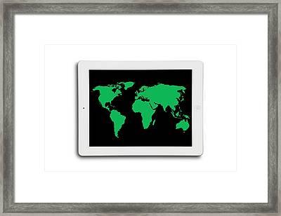 World Map On A Digital Tablet Framed Print by Victor De Schwanberg
