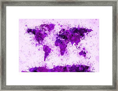 World Map Paint Splashes Purple Framed Print