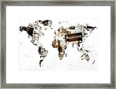 World Map Post Stamps Framed Print by Eti Reid