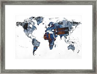 World Map Post Stamps Grunge Blueprint Framed Print by Eti Reid