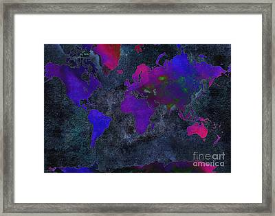 World Map - Purple Flip The Dark Night - Abstract - Digital Painting 2 Framed Print by Andee Design