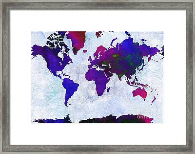 World Map - Purple Flip The Light Of Day - Abstract - Digital Painting 2 Framed Print by Andee Design
