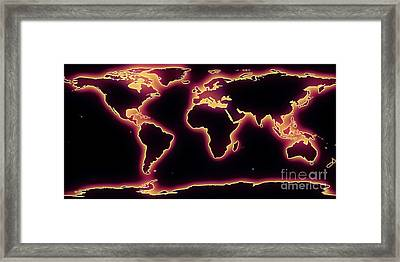 World Map Purple Glow Framed Print by Pixel Chimp