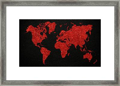 World Map Red Fabric On Dark Leather Framed Print