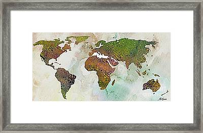 World Map Relief Framed Print by Dragica  Micki Fortuna