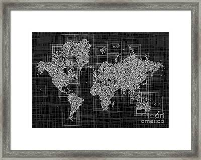World Map Rettangoli In Black And White Framed Print by Eleven Corners