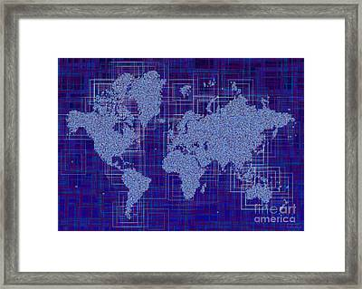 World Map Rettangoli In Blue And White Framed Print by Eleven Corners