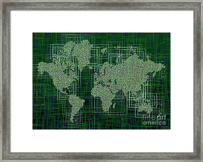 World Map Rettangoli In Green And White Framed Print by Eleven Corners
