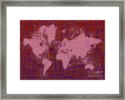 World Map Rettangoli In Pink Red And Purple Framed Print by Eleven Corners
