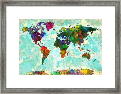 World Map Splatter Design Framed Print