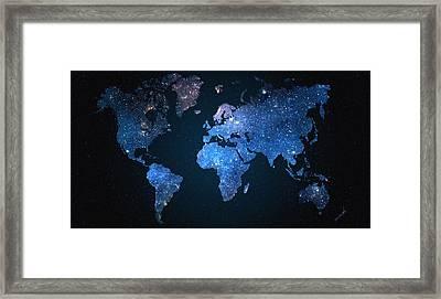 World Map Stars Framed Print