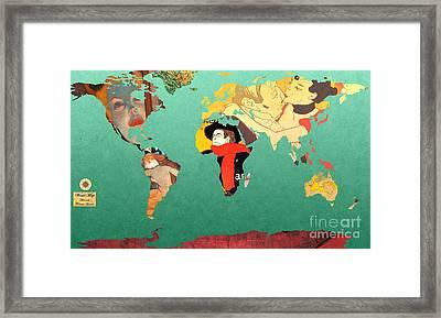 Toulouse-lautrec 1  World Map Framed Print by John Clark