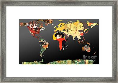 Toulouse-lautrec 2  World Map Framed Print by John Clark