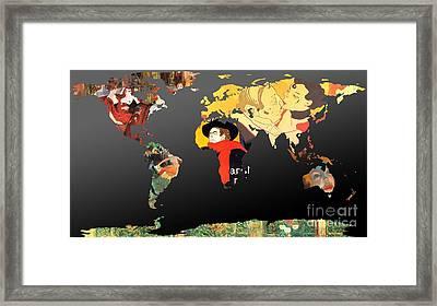 Toulouse-lautrec 2  World Map Framed Print