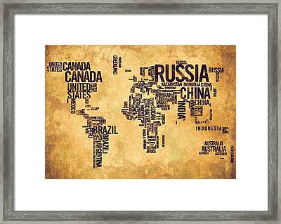World Map Typography 6 Watercolor Painting Framed Print by Georgeta Blanaru