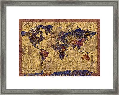 World Map Vintage Framed Print