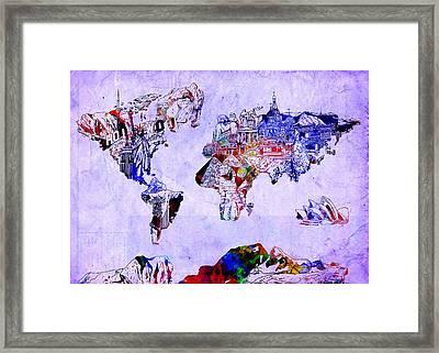 World Map Watercolor 2 Framed Print by Bekim Art