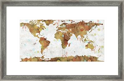 World Map Watercolor 3 Framed Print by Paulette B Wright