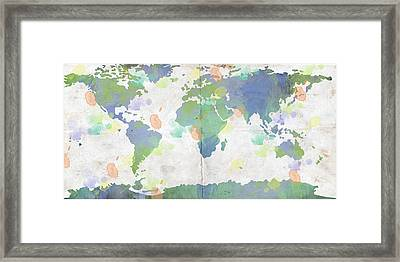 World Map Watercolor 4 Framed Print by Paulette B Wright