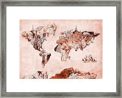 World Map Watercolor Framed Print by Bekim Art