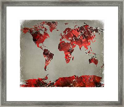 World Map - Watercolor Red-black-gray Framed Print