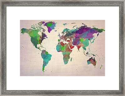 World Map Watercolour Painting Framed Print by Eti Reid