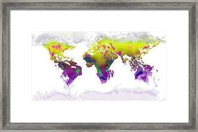 World Map Whorls2 Framed Print