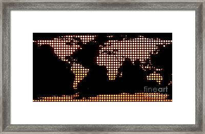 World Map Yellow Dots Framed Print by Pixel  Chimp