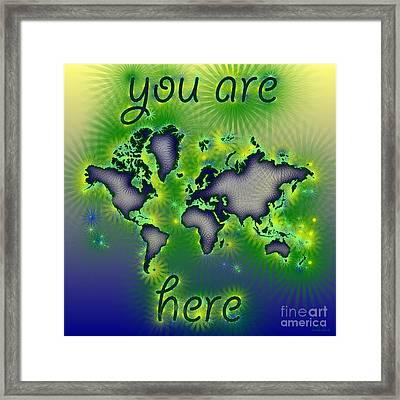 World Map You Are Here Amuza In Blue Yellow And Green Framed Print by Eleven Corners