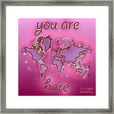 World Map You Are Here Amuza In Purple And Pink Framed Print by Eleven Corners
