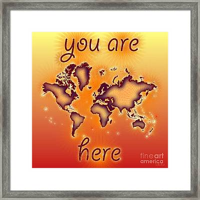 World Map You Are Here Amuza In Red Yellow And Orange Framed Print by Eleven Corners