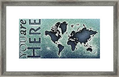World Map You Are Here Novo In Black And Blue Framed Print by Eleven Corners