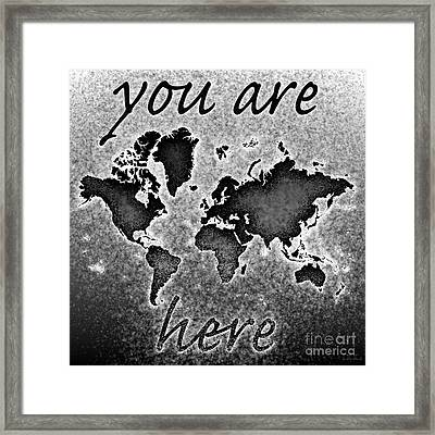 World Map You Are Here Novo In Black And White Framed Print by Eleven Corners