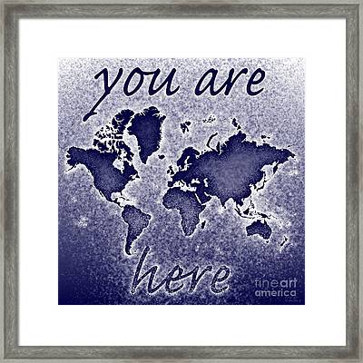 World Map You Are Here Novo In Blue Framed Print by Eleven Corners