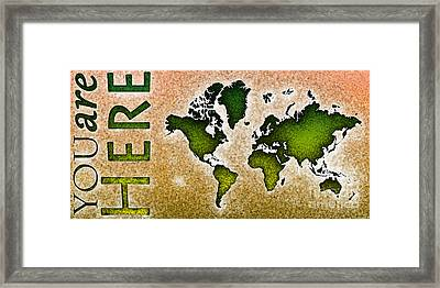 World Map You Are Here Novo In Green And Orange Framed Print by Eleven Corners