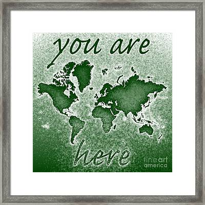 World Map You Are Here Novo In Green Framed Print by Eleven Corners