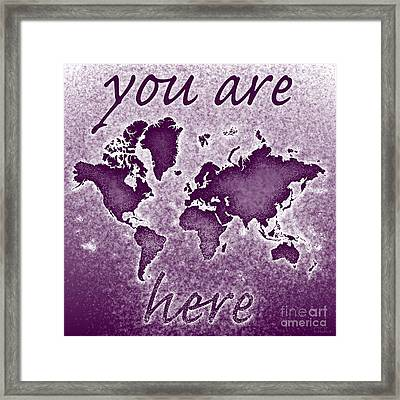 World Map You Are Here Novo In Purple Framed Print by Eleven Corners