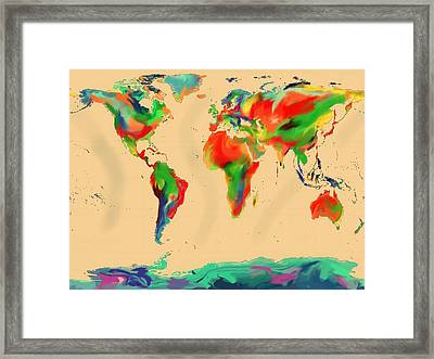 World Of Color Map Framed Print by Andre Pillay