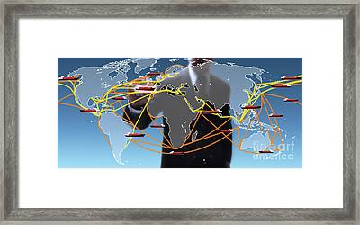 World Shipping Routes Map Framed Print