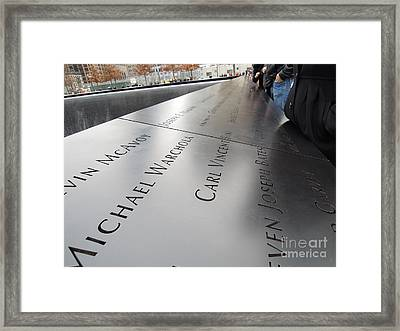 Framed Print featuring the photograph World Trade Center 9/11 Memorial Pool by Vinnie Oakes