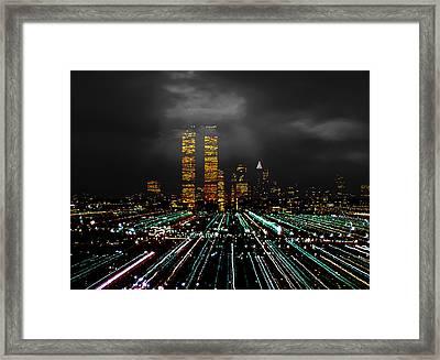 World Trade Center At Night 1980 Framed Print