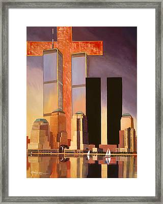 Framed Print featuring the painting World Trade Center Memorial by Art James West
