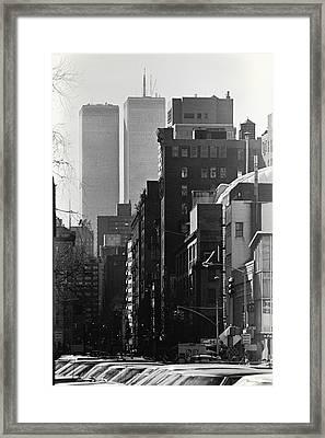 World Trade Center Street Scene - Black And White Framed Print by Steven Hlavac