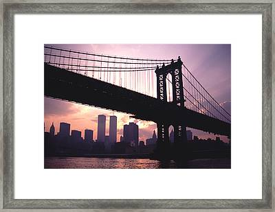 World Trade Towers Manhattan Bridge At Sunset Nyc Framed Print
