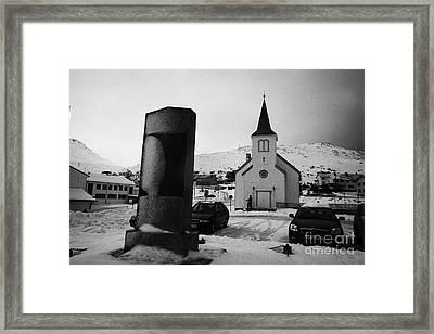 world war 2 memorial outside Honningsvag kirke church finnmark norway europe Framed Print