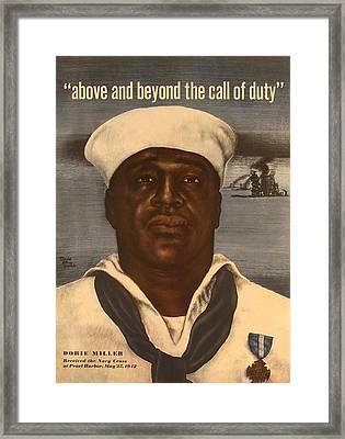 World War 2 Poster With A Portrait Framed Print